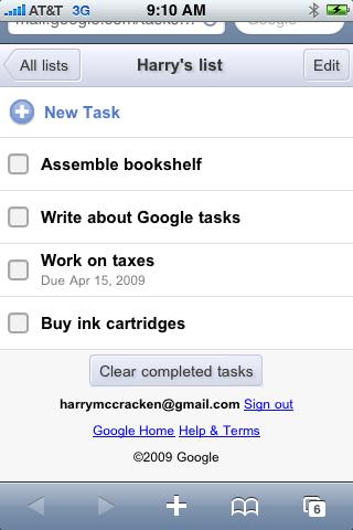 Google Tasks for iPhone