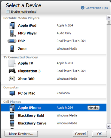 RealPlayer Devices