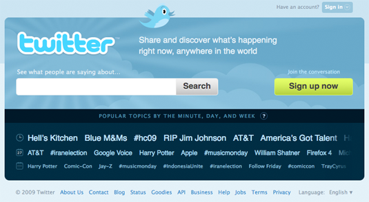 New Twitter home page