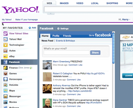 Facebook on Yahoo