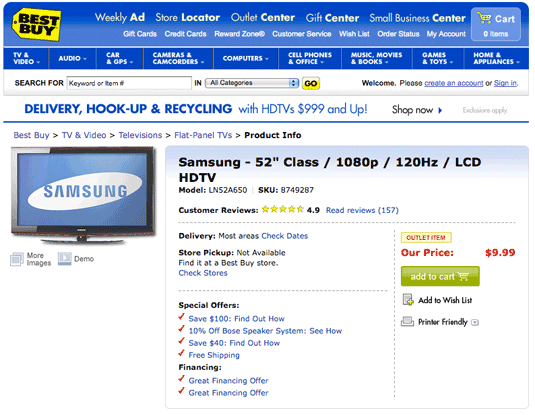 Best Buy HDTV for $9.99