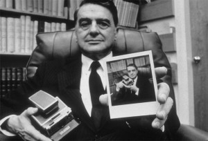 Polaroid founder Edwin Land with an SX-70 and an SX-70 snapshot in his Cambridge, Massachusetts office on November 1st, 1972. Photo: Joyce Dopkeen/Getty Images