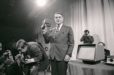 Dr. Edwin Land demos the Polaroid Polavision system
