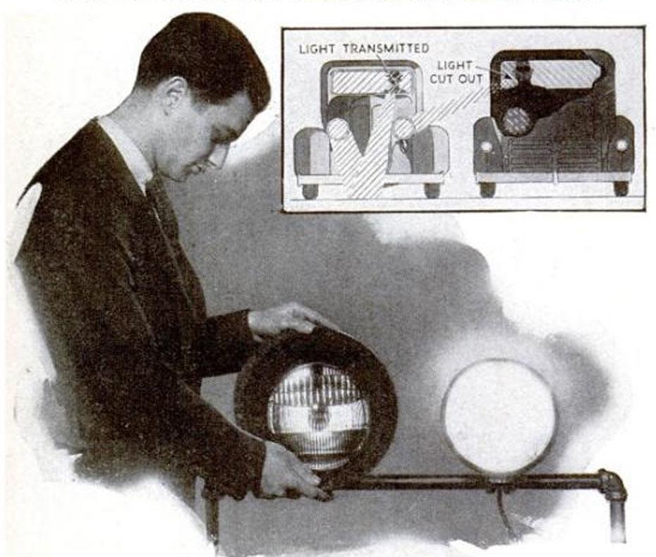 Edwin Land demonstrates polarized headlights