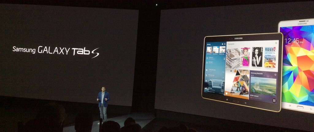Samsung's Ryan Bidan presides over the Galaxy Tab S launch event at Madison Square Garden in New York City on June 12, 2014
