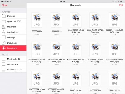 Parallels Access for iOS's new file manager