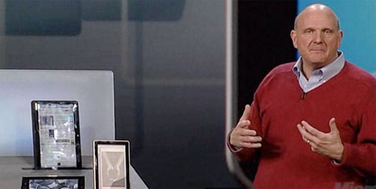 Steve Ballmer with Slate PCs
