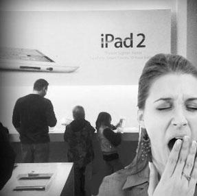 Yawning at the iPad