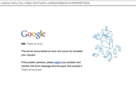 Google error message